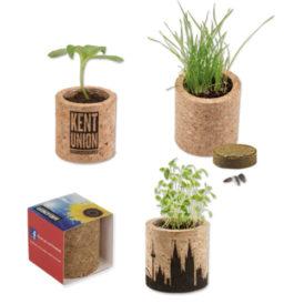 Eco vasetto in sughero con semi personalizzabile