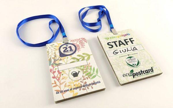 badge ecologici con semi